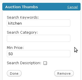 auction thumbs options