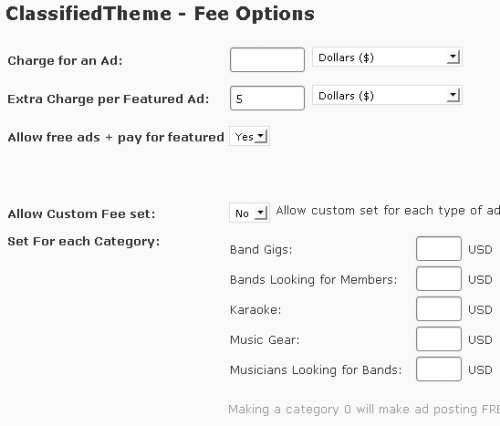 classified theme fee options
