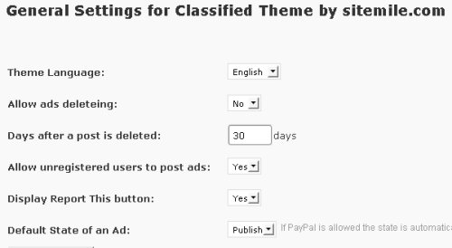 classified theme general settings