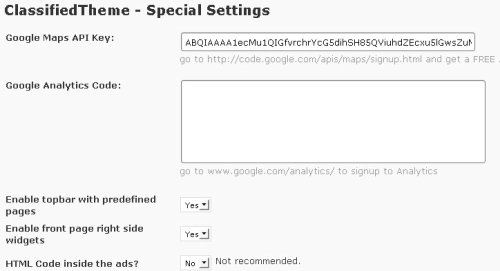 classifieds theme special settings