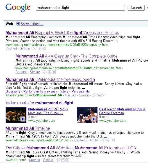 google ali results