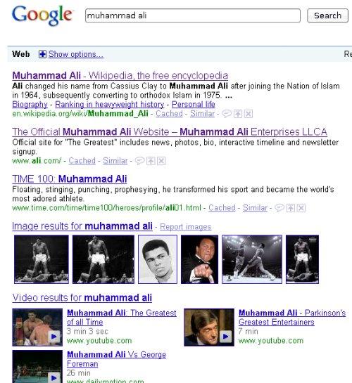 google search muhammad ali
