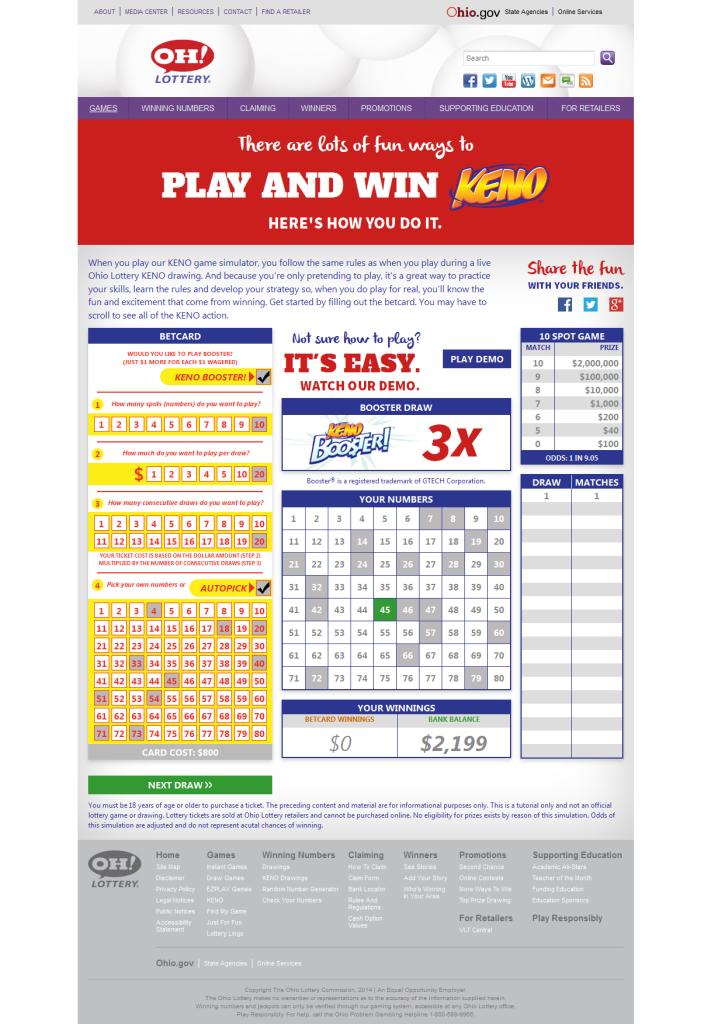 Ohio Lottery Keno Simulator