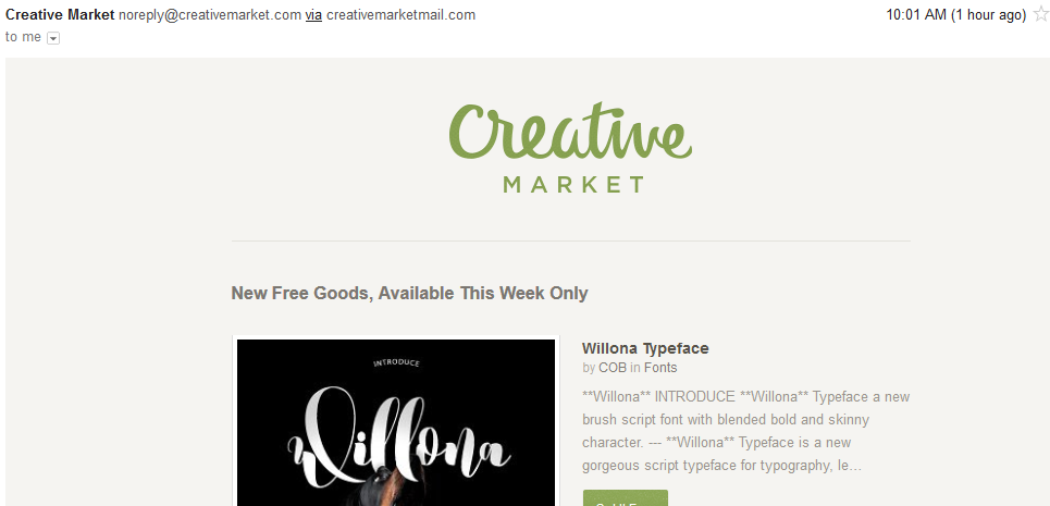 Creative Market email marketing campaign